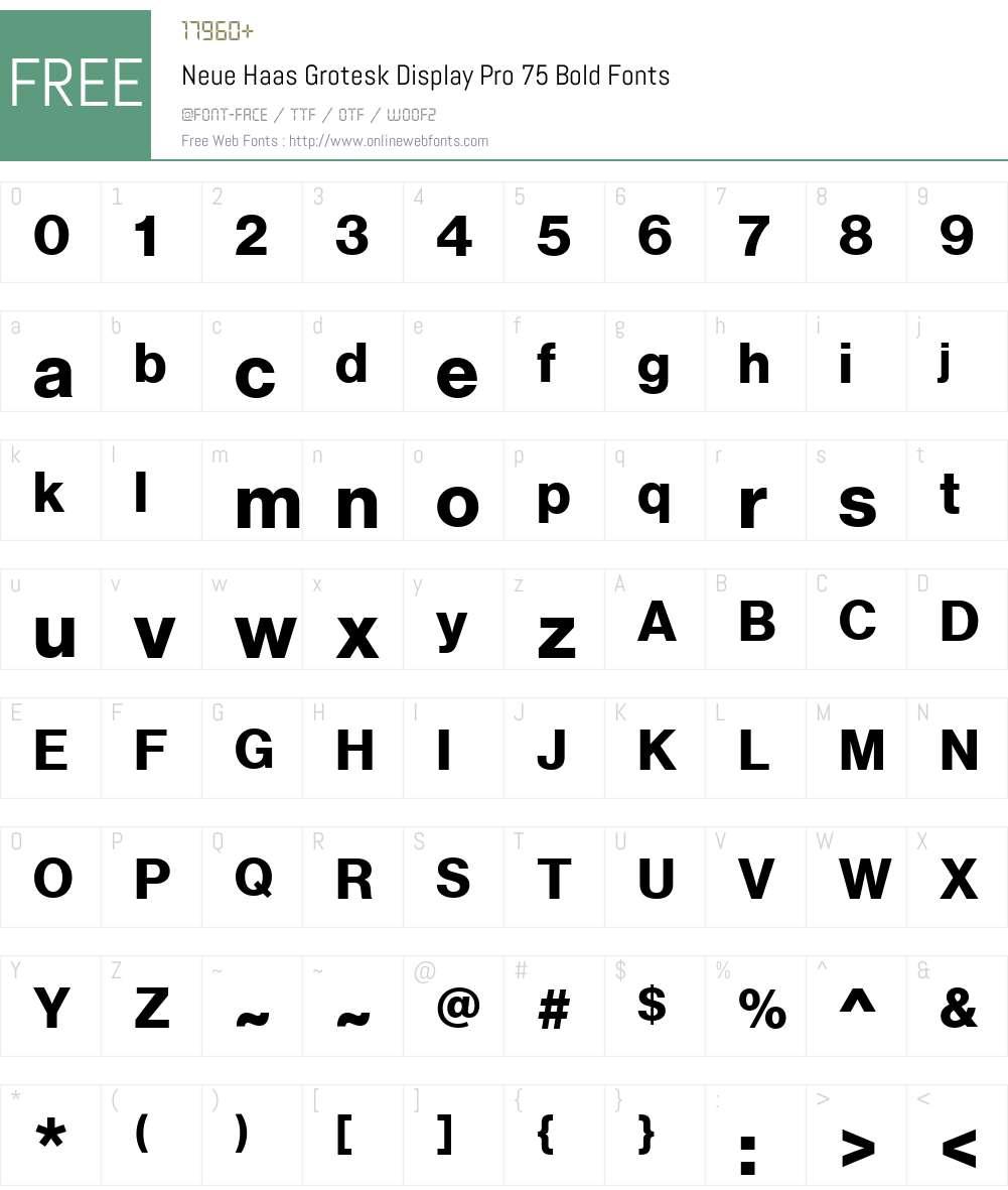 Neue Haas Grotesk Display Pro 75 Bold 1 01 Fonts Free