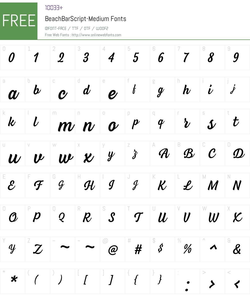 beach bar script font free download
