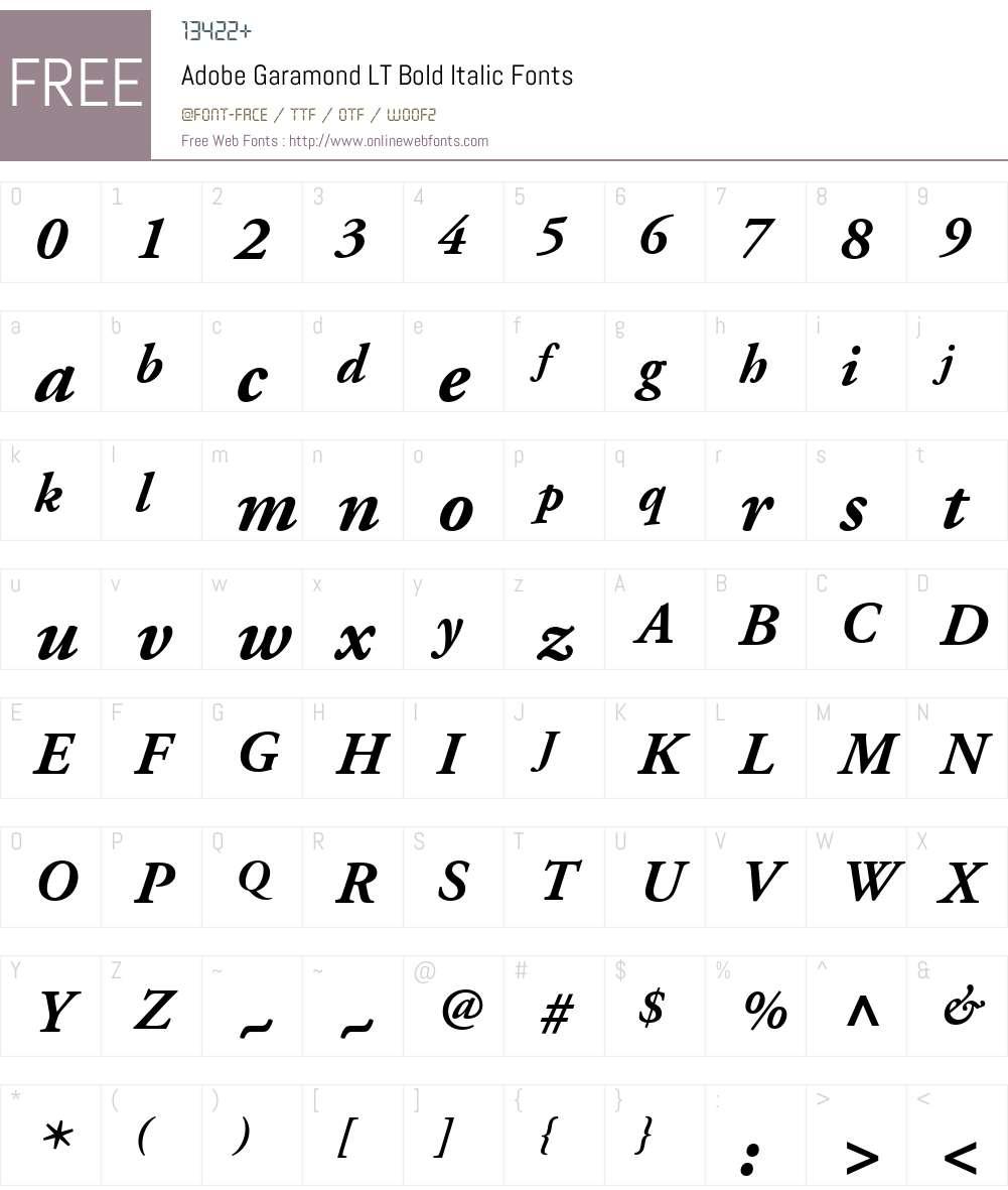 Adobe Garamond LT Bold Italic 6 1