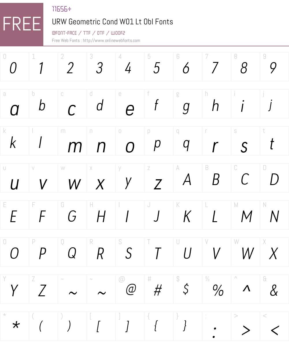 URW Geometric Cond W01 Lt Obl 1 00 Fonts Free Download
