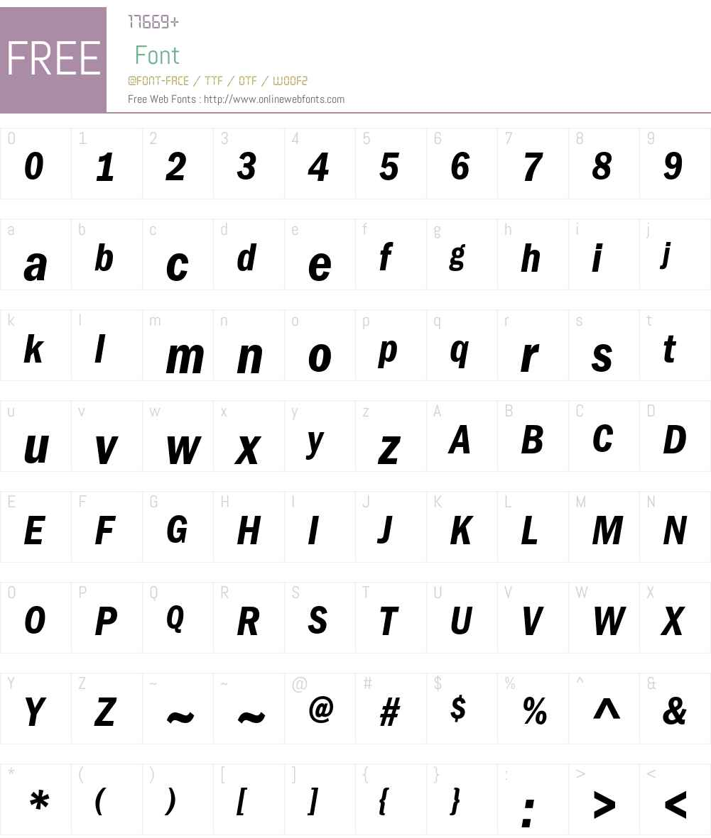 ITC Franklin Gothic LT Demi Condensed Italic 006 000 Fonts