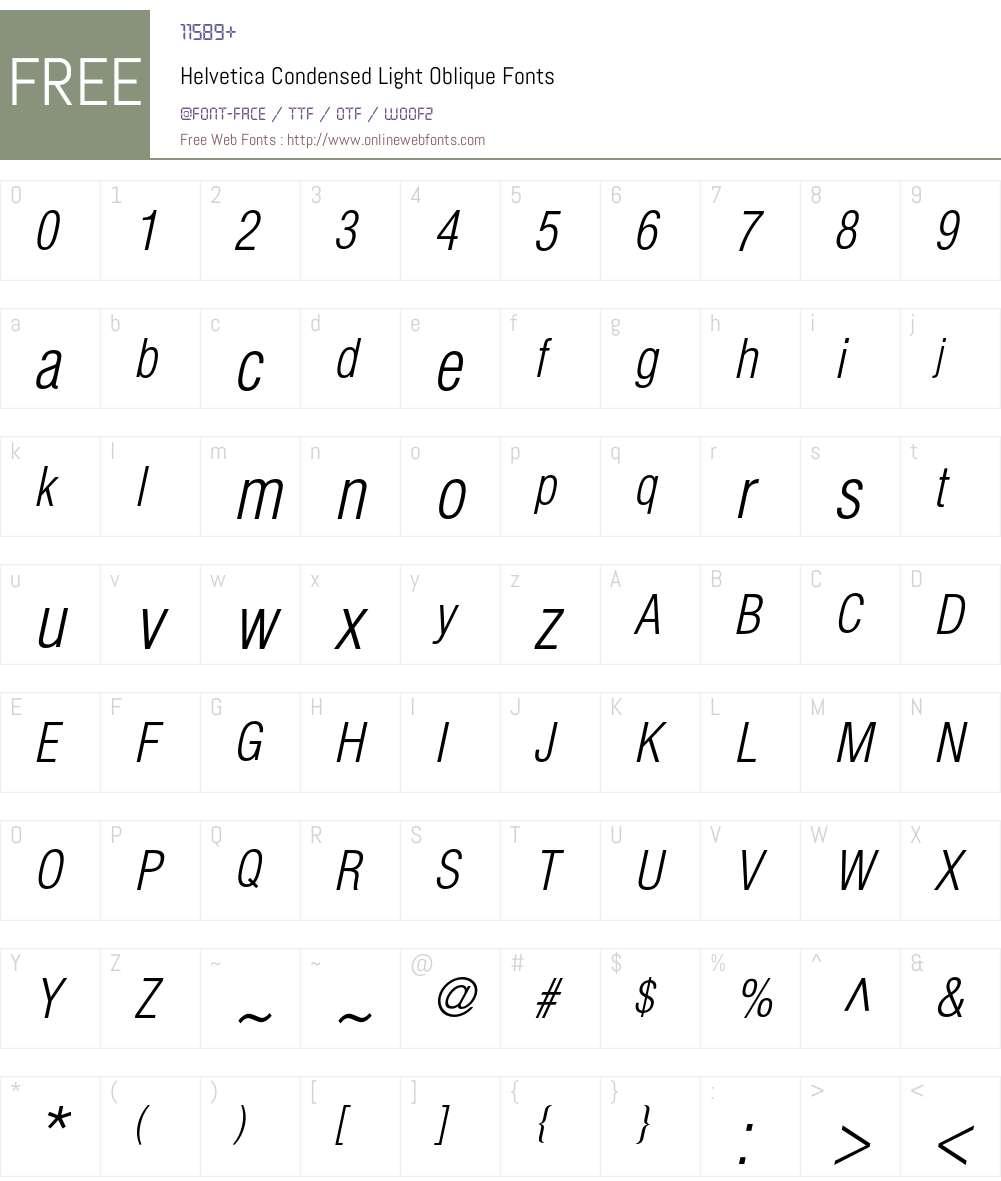 Helvetica Condensed Light Oblique 001 002 Fonts Free Download