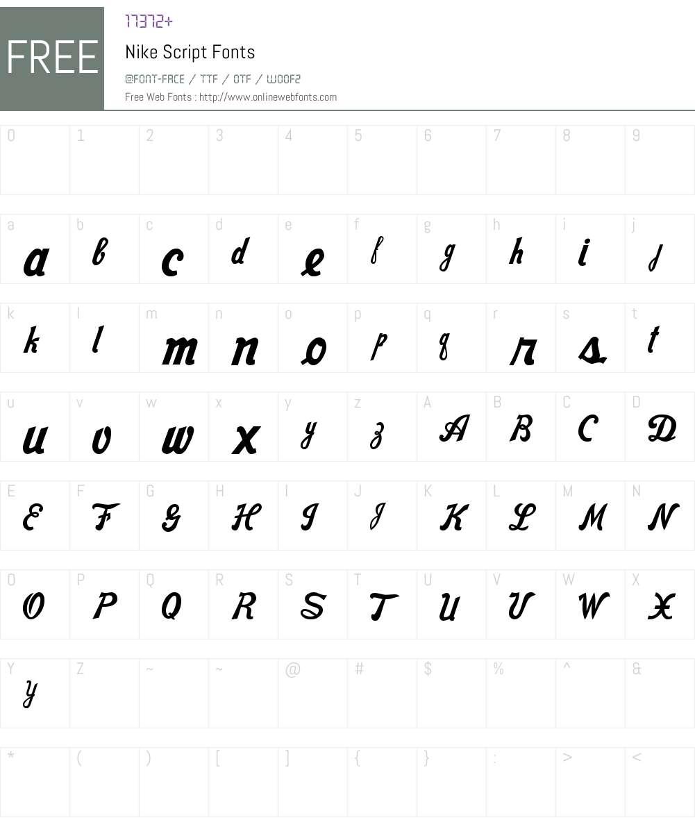 Nike Script 1 00 February 15, 2015, initial release Fonts