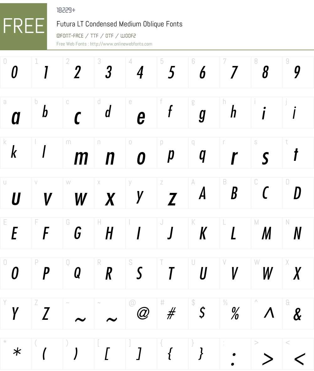 Futura LT Condensed Medium Oblique 006 000 Fonts Free