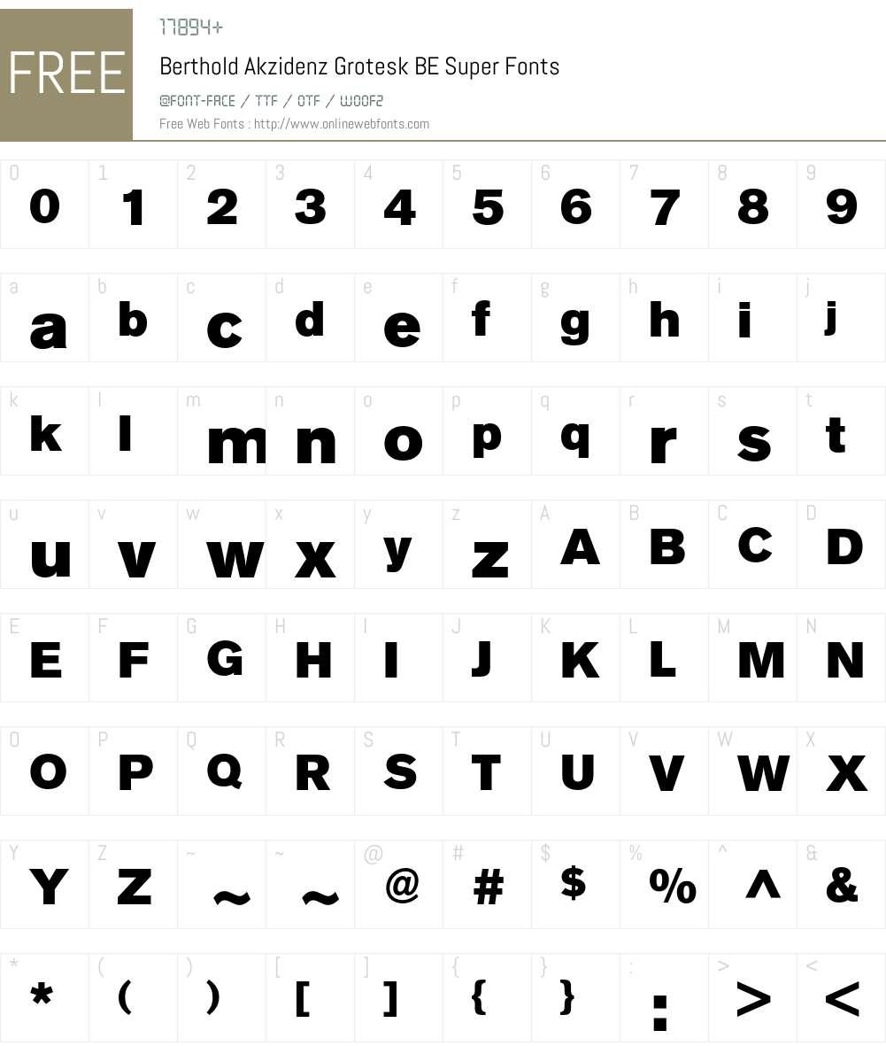 Berthold Akzidenz Grotesk BE Super 001 000 Fonts Free Download