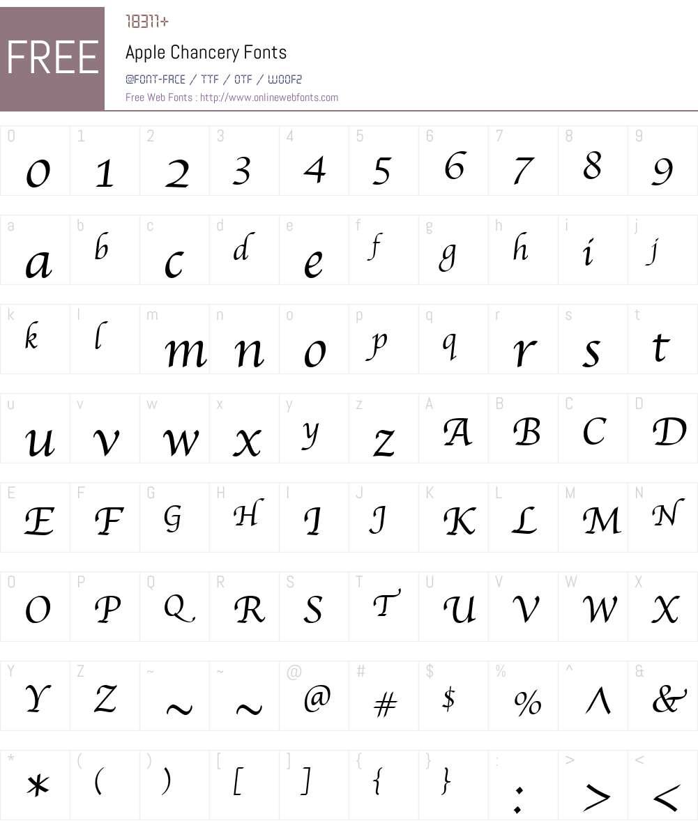 Apple Chancery 1 0 Fonts Free Download - OnlineWebFonts COM