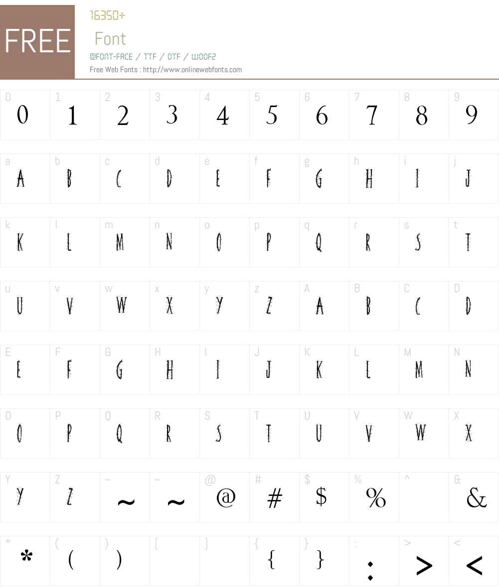 Squiggley Brown 1 00 January 5, 2013, initial release Fonts