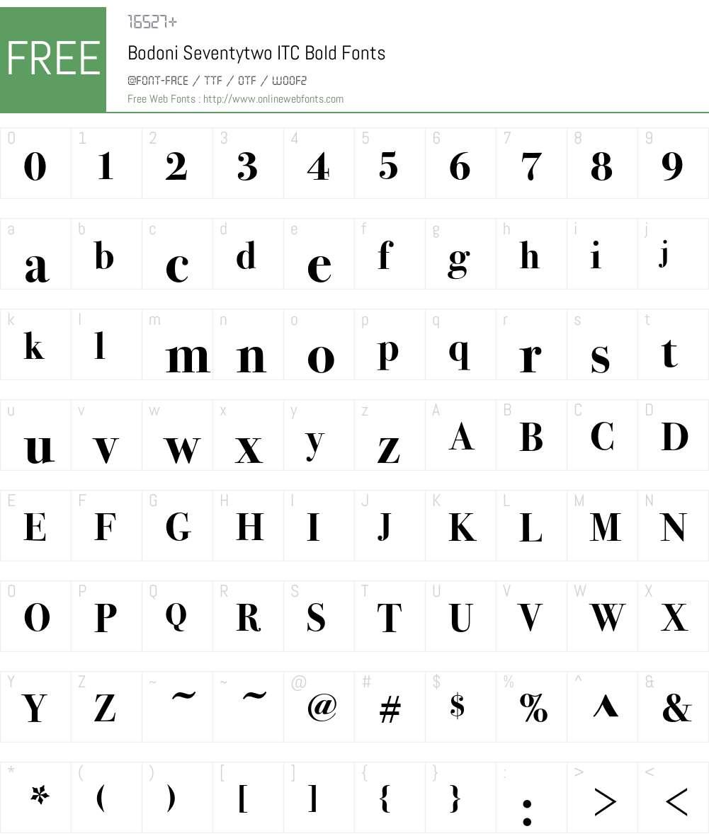 Bodoni Seventytwo ITC Bold 005 000 Fonts Free Download