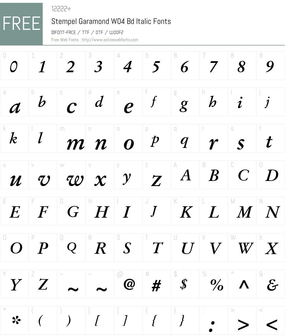 Stempel Garamond W04 Bd Italic 1 00 Fonts Free Download