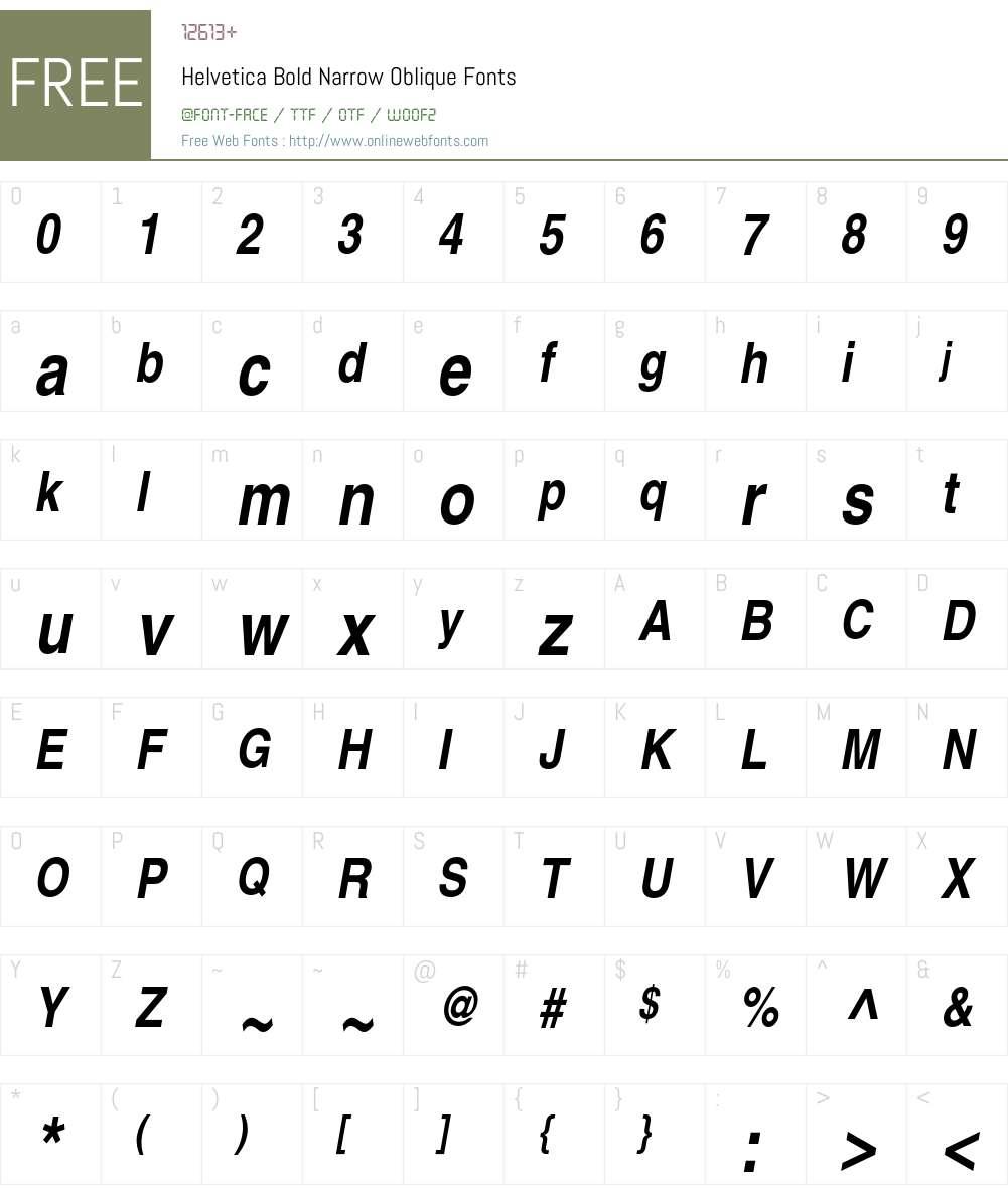 Helvetica Bold Narrow Oblique OTF 1 0