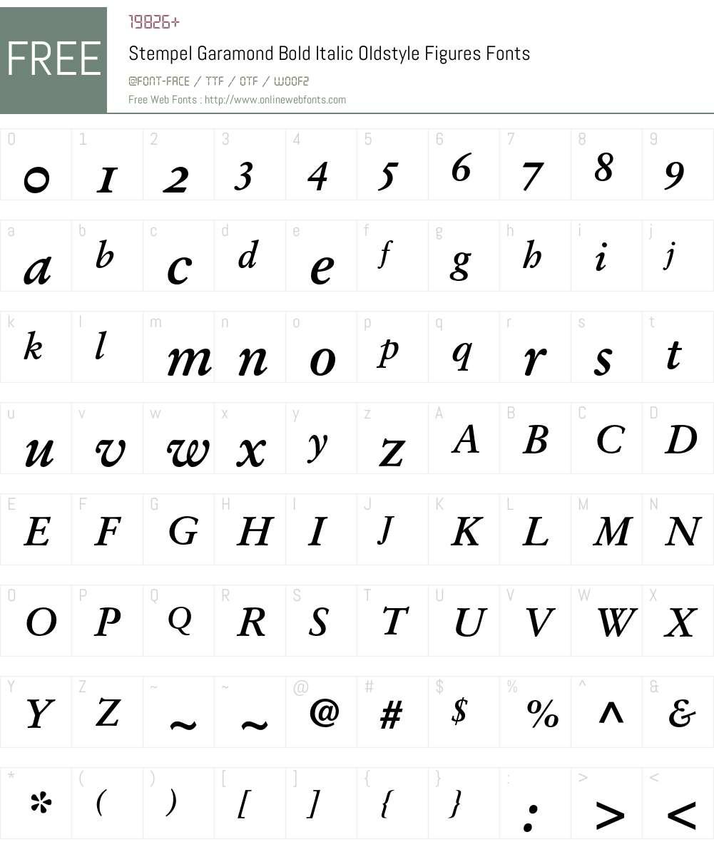 Stempel Garamond Bold Italic Oldstyle Figures 001 000 Fonts