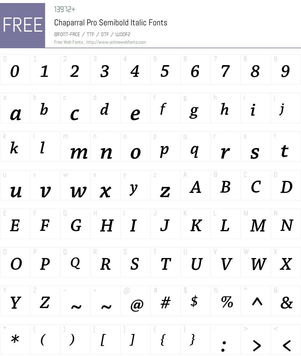chaparral pro semibold italic font