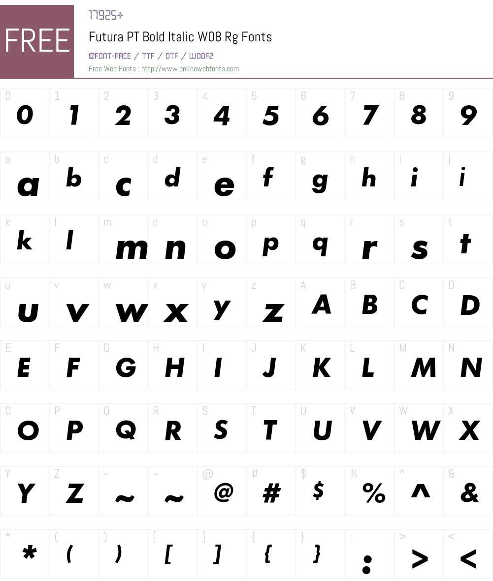 Futura PT Bold Italic W08 Rg 1 70 Fonts Free Download