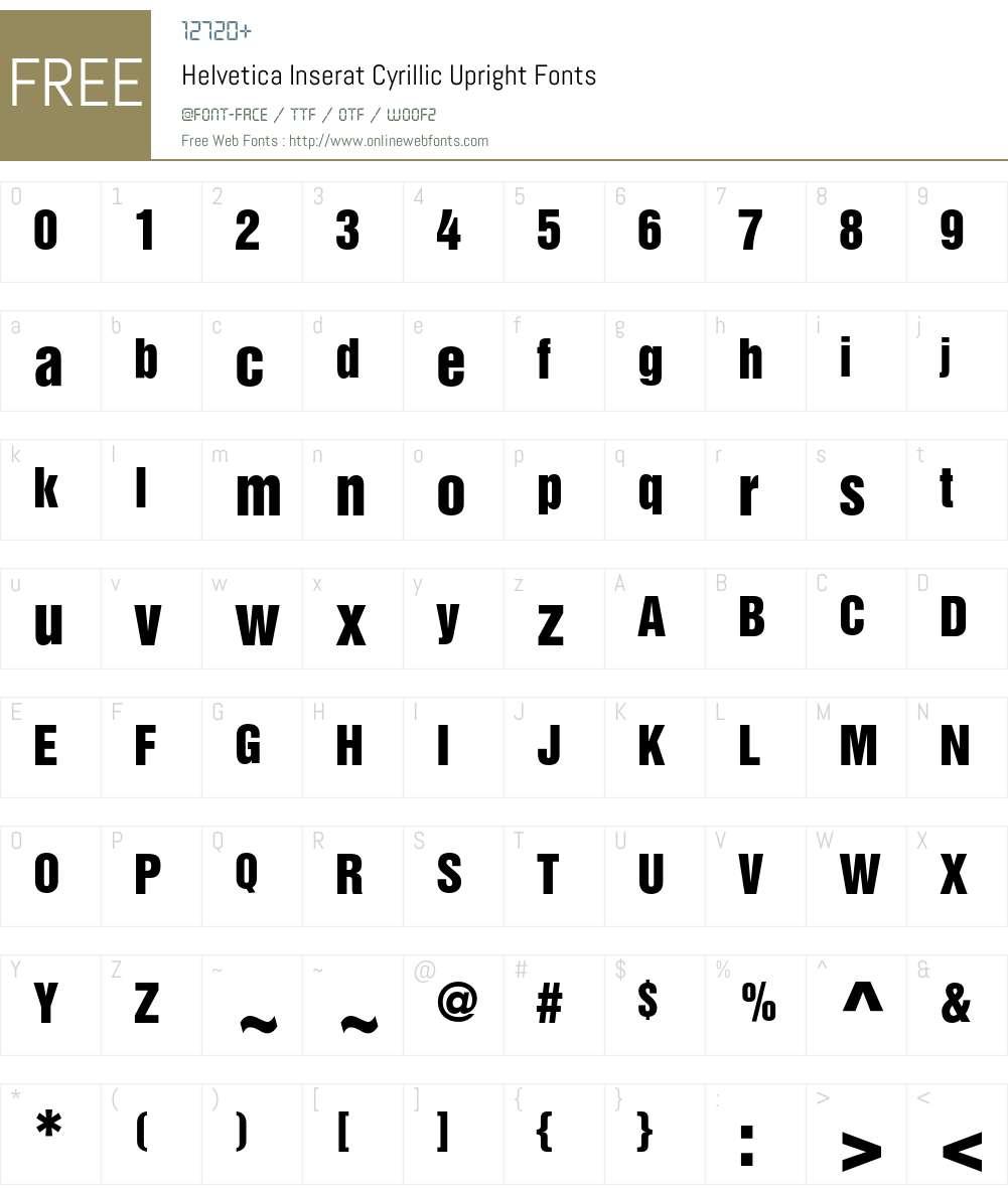 Helvetica Inserat Cyrillic Upright 001 000 Fonts Free