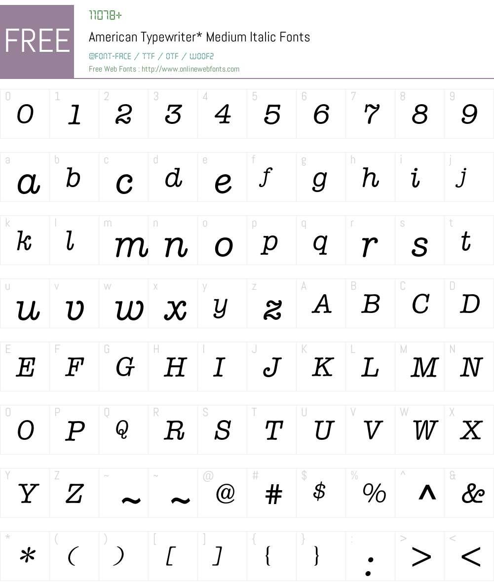 american typewriter italic free download