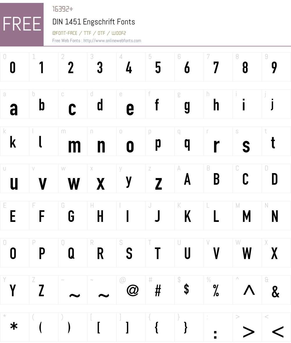 DIN 1451 Engschrift 001 001 Fonts Free Download