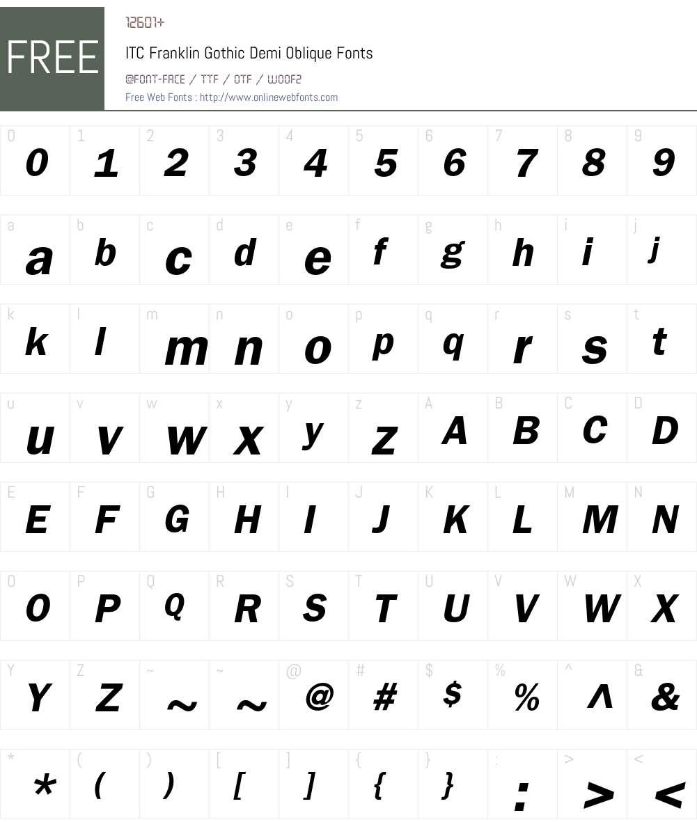 ITC Franklin Gothic Demi Oblique 001 001 Fonts Free Download