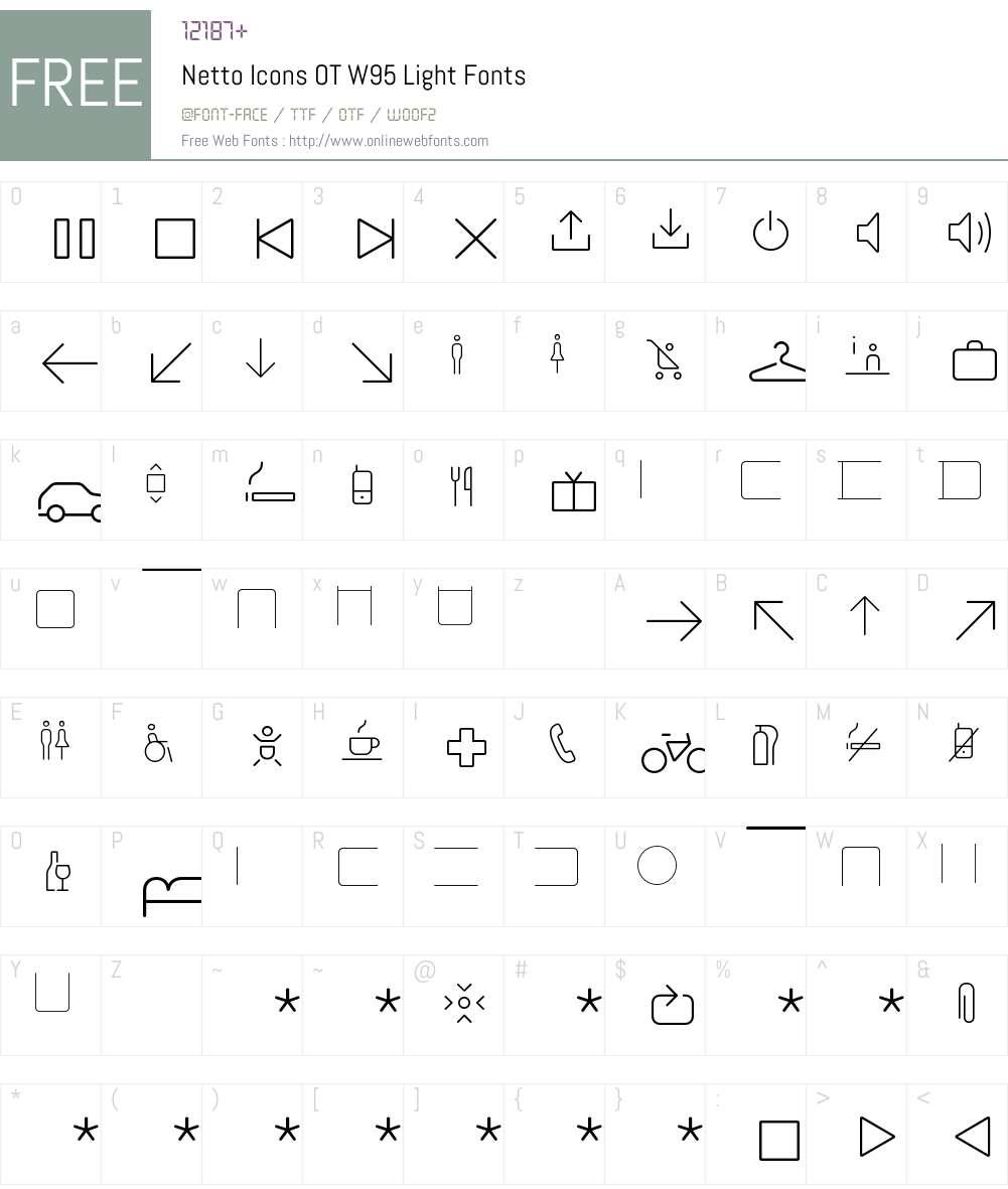 Netto Icons OT W95 Light 7 504 Fonts Free Download - OnlineWebFonts COM