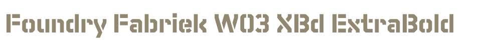 Foundry Fabriek W03 XBd