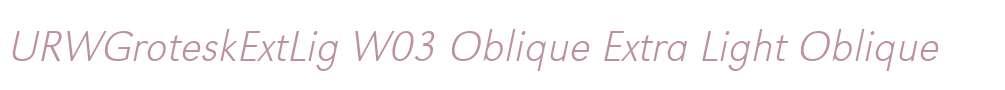 URWGroteskExtLig W03 Oblique