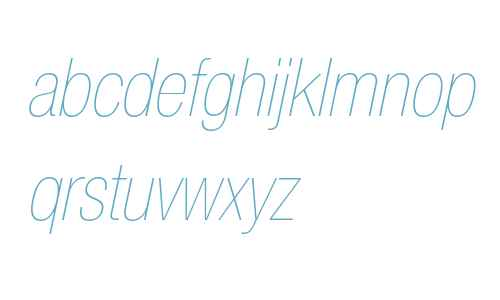 Helvetica Neue LT Pro 27 Ultra Light Condensed Oblique