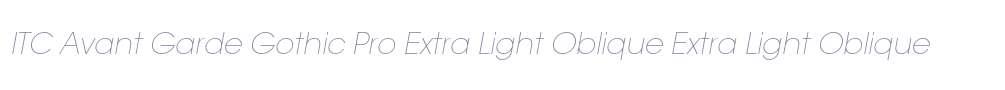 ITC Avant Garde Gothic Pro Extra Light Oblique