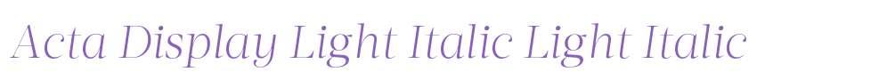 Acta Display Light Italic