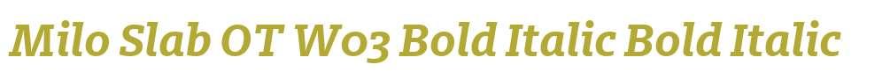 Milo Slab OT W03 Bold Italic