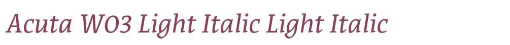 Acuta W03 Light Italic