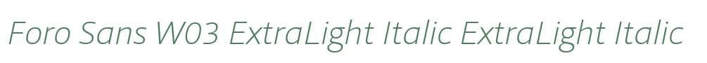 Foro Sans W03 ExtraLight Italic