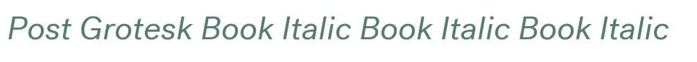 Post Grotesk Book Italic Book Italic