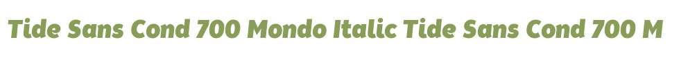 Tide Sans Cond 700 Mondo Italic