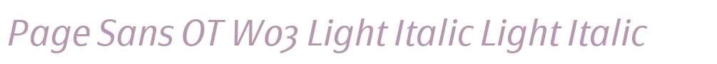 Page Sans OT W03 Light Italic