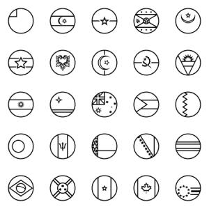Outline Circular World Flags