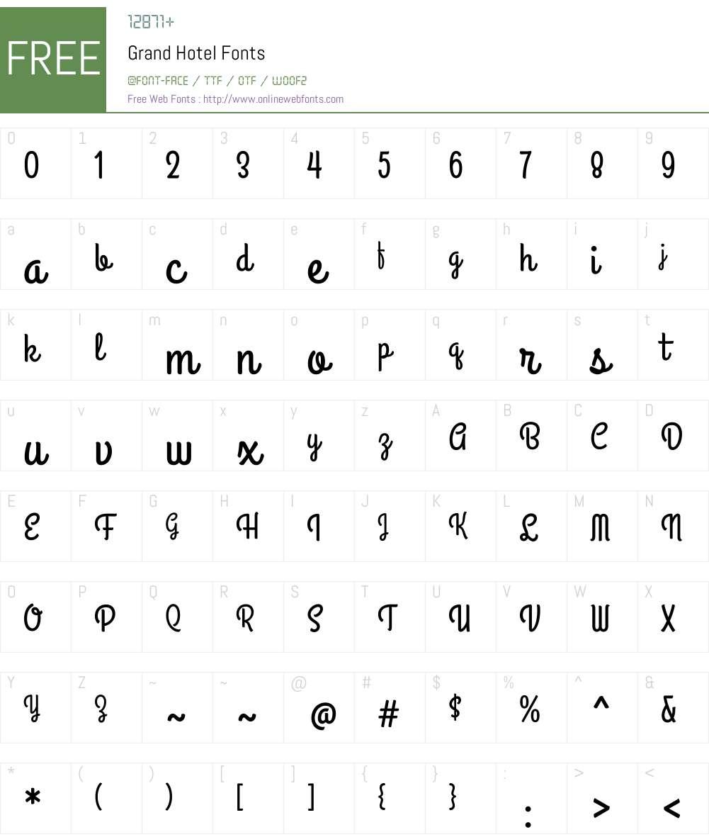 Grand Hotel Font Screenshots