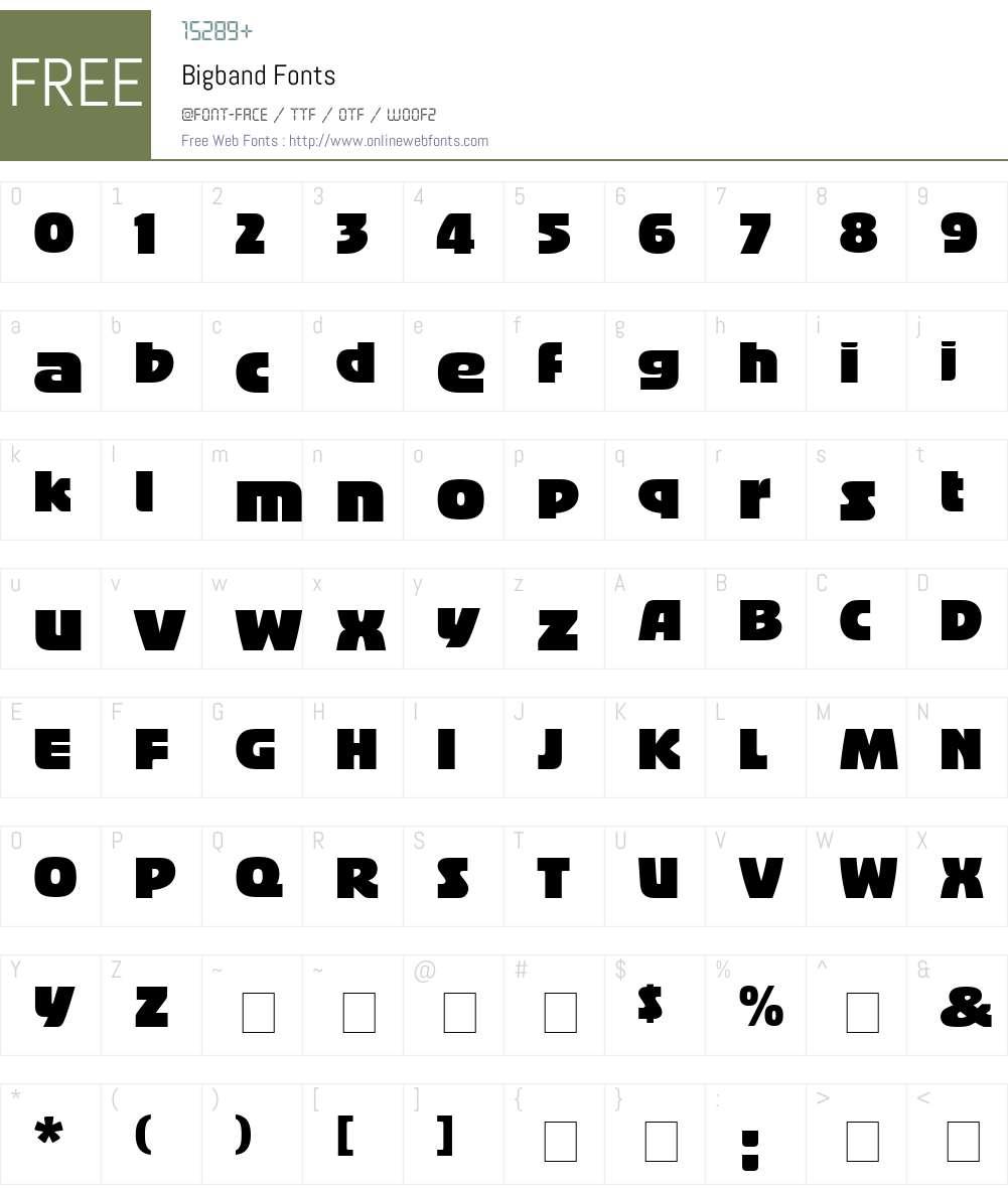 Bigband Font Screenshots