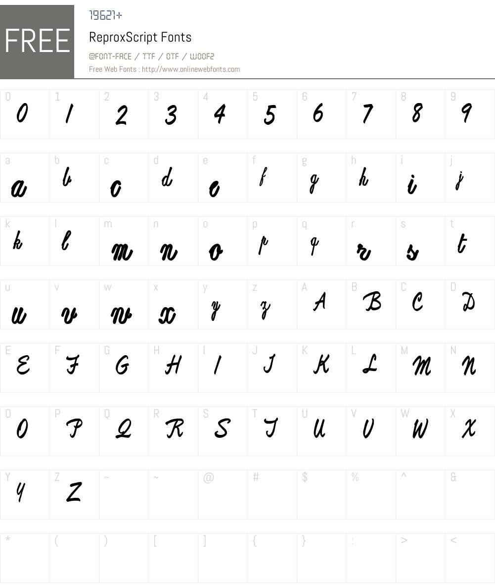 ReproxScript Font Screenshots