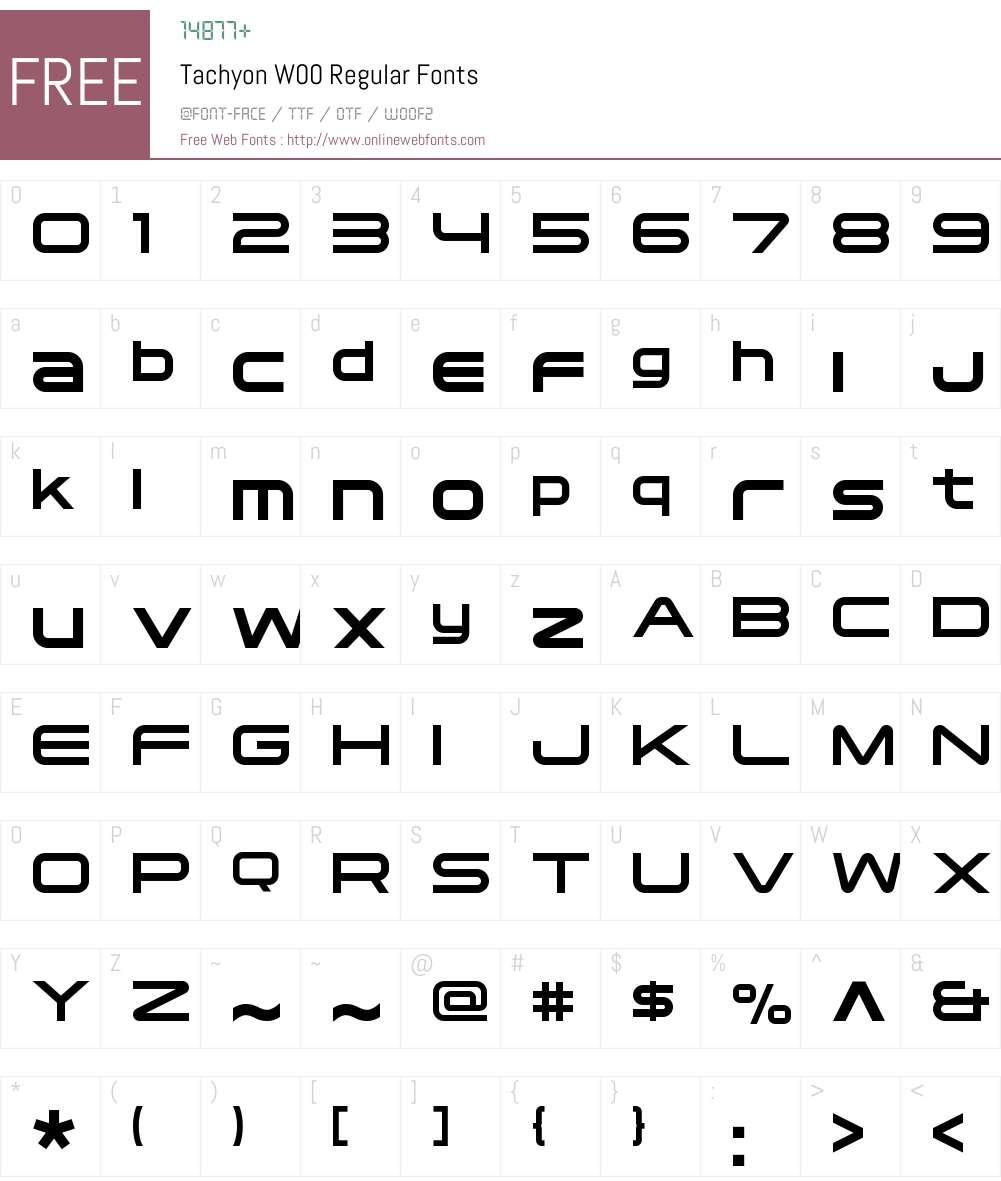 TachyonW00-Regular Font Screenshots