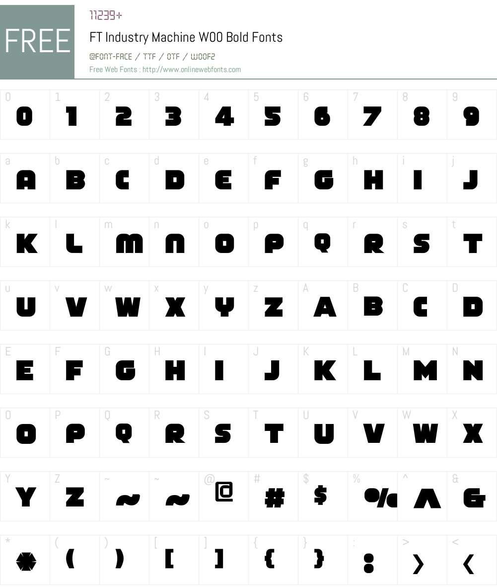 FTIndustryMachineW00-Bold Font Screenshots
