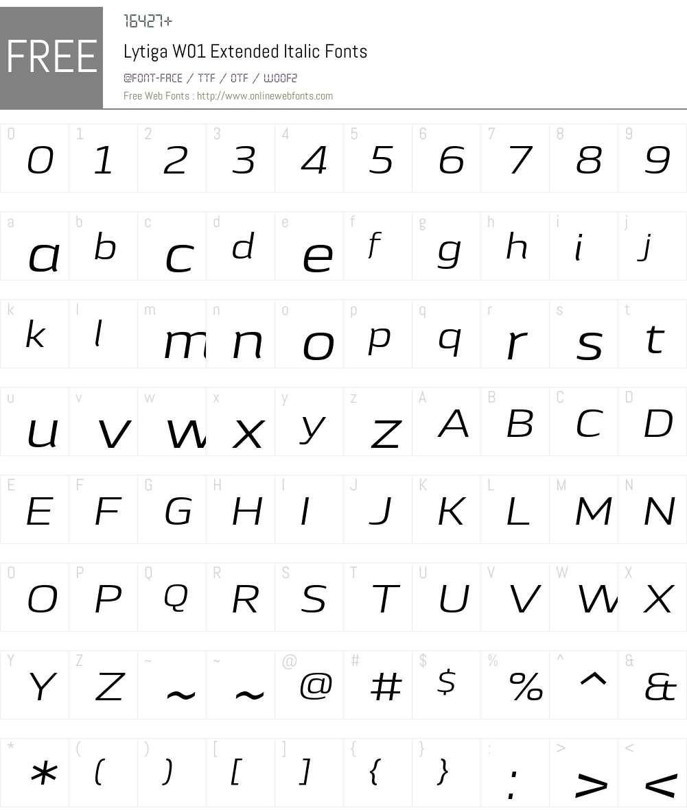 LytigaW01-ExtendedItalic Font Screenshots