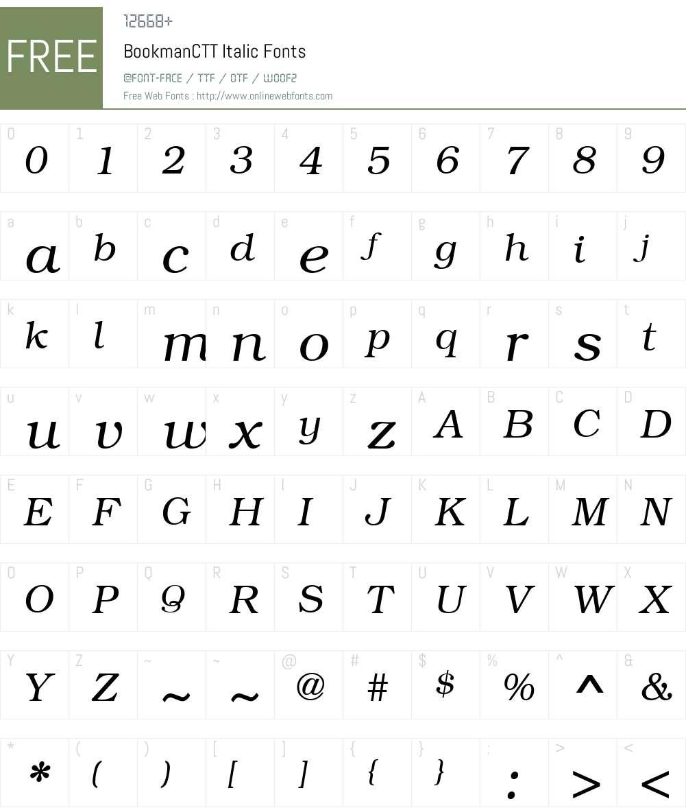 BookmanCTT Font Screenshots