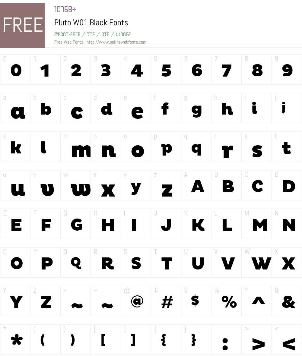 PlutoW01-Black Font Screenshots
