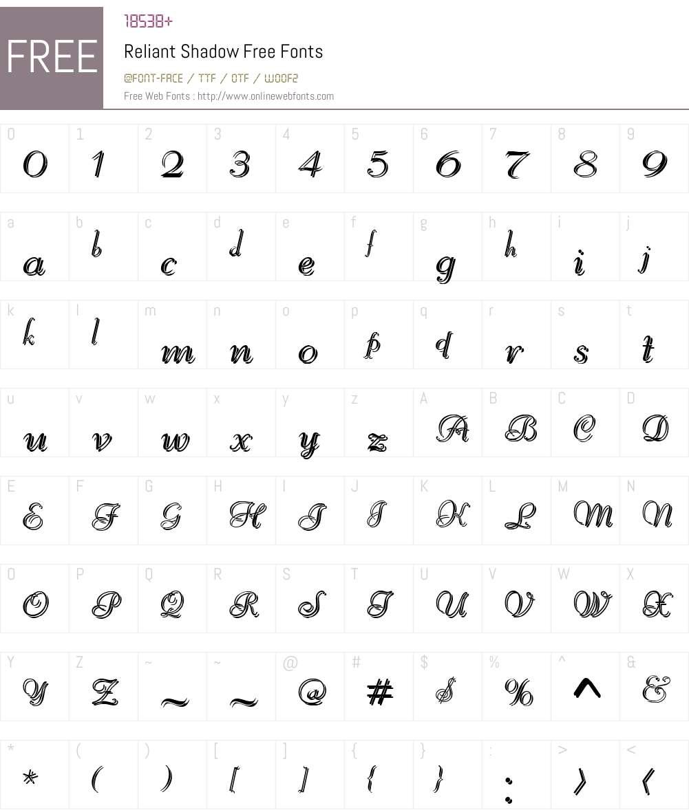 Reliant Shadow Free Font Screenshots