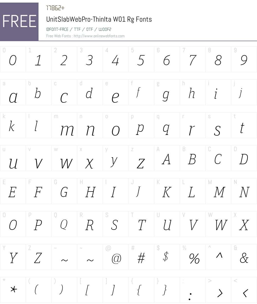 UnitSlabWebPro-ThinItaW01 Font Screenshots