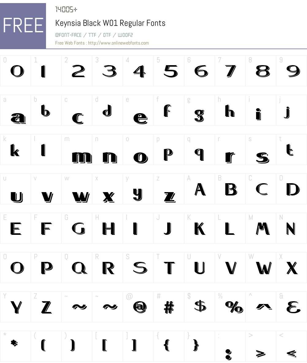 KeynsiaBlackW01-Regular Font Screenshots