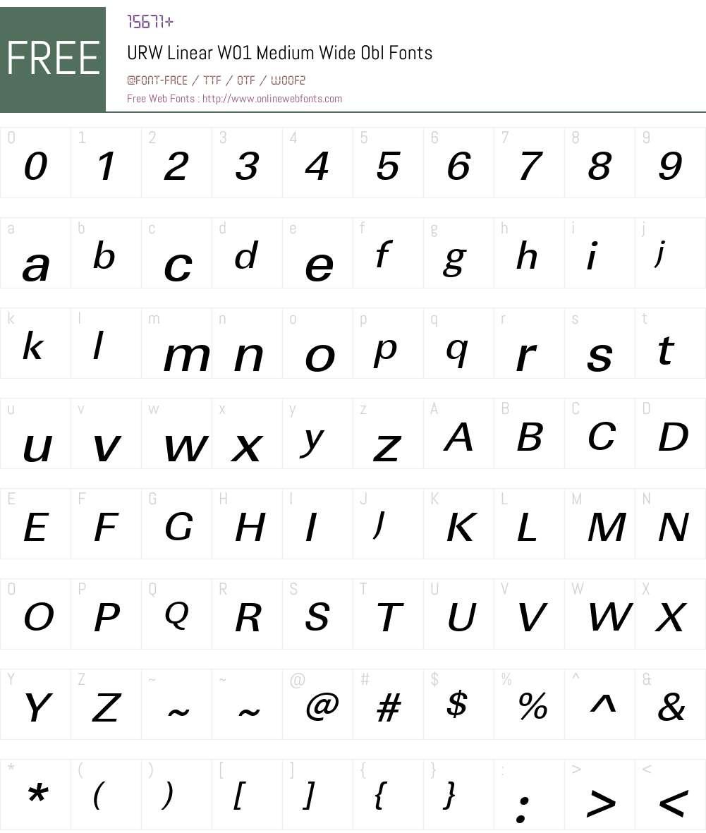 URWLinearW01-MediumWideObl Font Screenshots