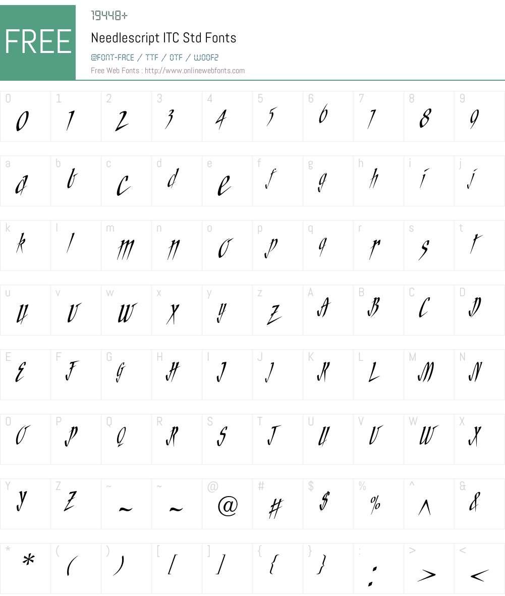 Needlescript ITC Std Font Screenshots