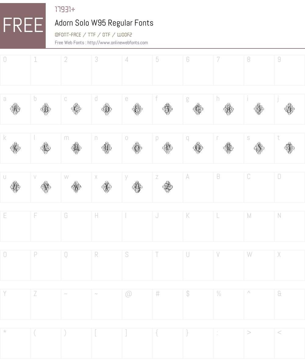 AdornSoloW95-Regular Font Screenshots