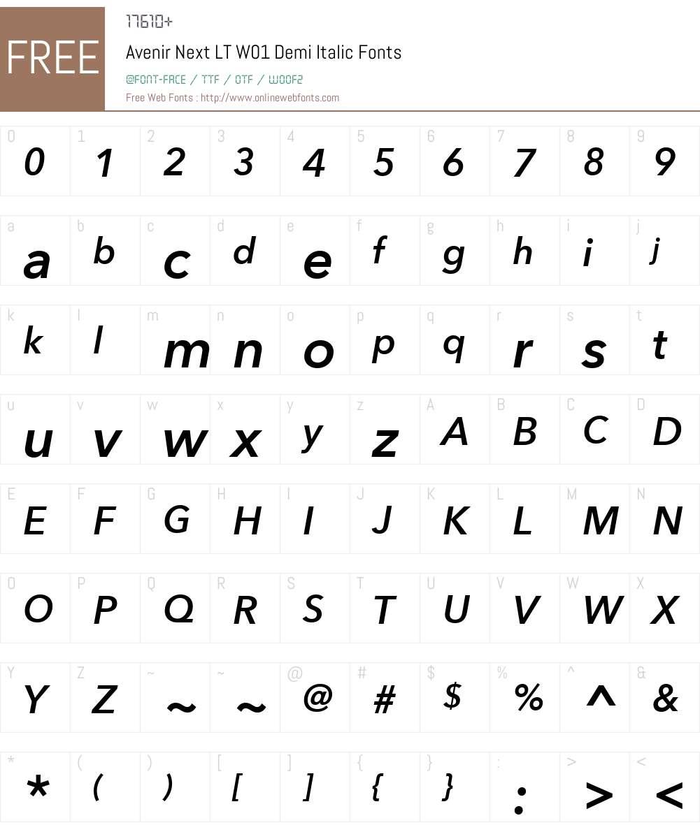 AvenirNextLTW01-DemiItalic Font Screenshots