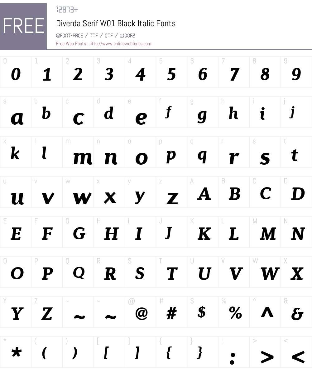 DiverdaSerifW01-BlackItalic Font Screenshots